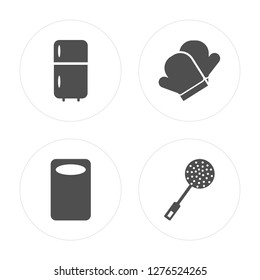 4 Fridge, Kitchen board, Mitten, Skimmer modern icons on round shapes, vector illustration, eps10, trendy icon set.