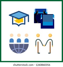4 friendship icon. Vector illustration friendship set. school bag for boys and teamwork icons for friendship works