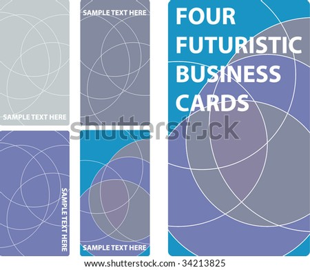 4 Futuristic Business Cards Vector Stock Vector Royalty Free