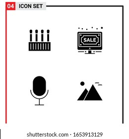 4 General Icons for website design print and mobile apps. 4 Glyph Symbols Signs Isolated on White Background. 4 Icon Pack.