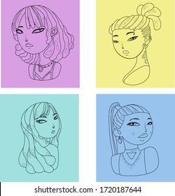 4 girl's portraits. Vector Outlined