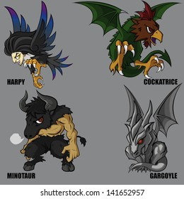 4 Graphic Vector Of Mythical Creatures Set 02