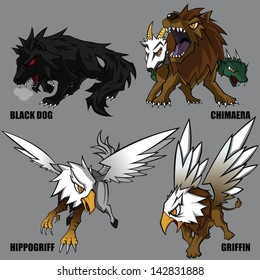 4 Graphic Vector Of Mythical Creatures Set 04