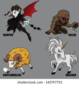 4 Graphic Vector Of Mythical Creatures Set 06