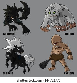4 Graphic Vector Of Mythical Creatures Set 10
