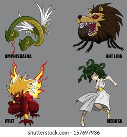 4 Graphic Vector Of Mythical Creatures Set 17