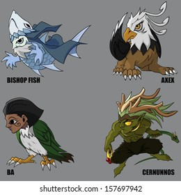 4 Graphic Vector Of Mythical Creatures Set 19