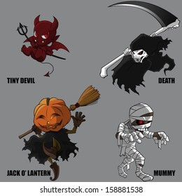 4 Graphic Vector Of Mythical Creatures Set 07 (Halloween Set)