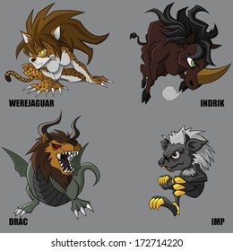 4 Graphic Vector Of Mythical Creatures Set 24