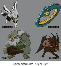 4 Graphic Vector Of Mythical Creatures Set 21