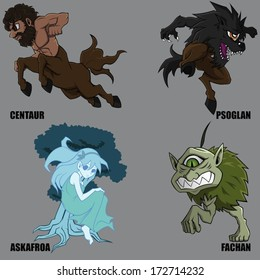 4 Graphic Vector Of Mythical Creatures Set 22