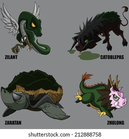 4 Graphic Vector Of Mythical Creatures Set 25