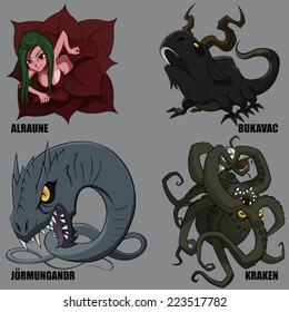 4 Graphic Vector Of Mythical Creatures Set 27
