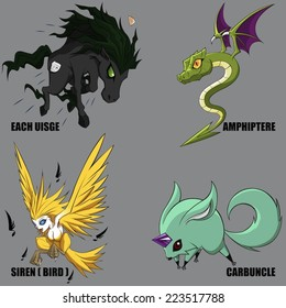 4 Graphic Vector Of Mythical Creatures Set 28