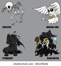 4 Graphic Vector Of Mythical Creatures Set 36 (Halloween Set)