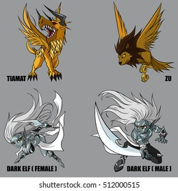 4 Graphic Vector Of Mythical Creatures Set 40