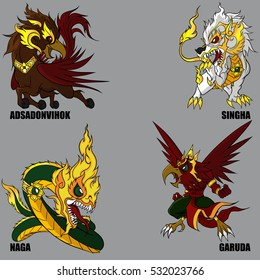 4 Graphic Vector Of Mythical Creatures Set 44 (Himmapan Mythical Creatures)