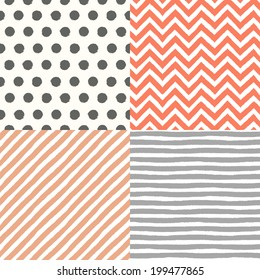4 hand drawn painted seamless geometric patterns set. Vector illustration