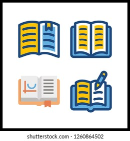 4 handbook icon. Vector illustration handbook set. open book icons for handbook works