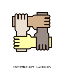4 hands holding eachother. Vector icon for concepts of racial equality, teamwork, community and charity