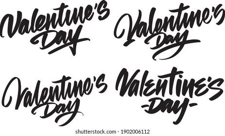 4 handwritten lettering congratulations Happy Valentine's Day