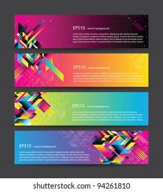 4 horisontal web banners set