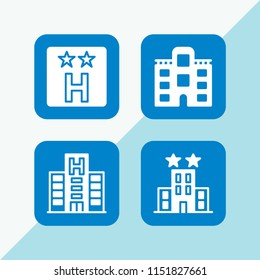 4 hostel icons in vector set. hotel illustration for web and graphic design