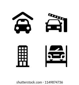 4 house icons in vector set. carport, frontier, construction and tools and apartment illustration for web and graphic design