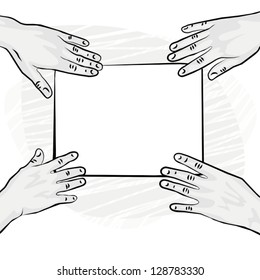 4 human hands holding white blank piece of paper monochrome vector illustration