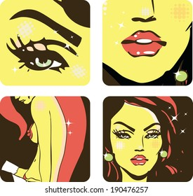 4 icons of Woman beauty -body, hair, eyes, lips, face girl