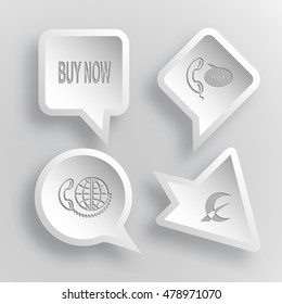 4 images: buy now, support, global communication, monetary sign. Business set. Paper stickers. Vector illustration icons.