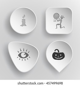 4 images: candle, ethnic little man as shaman, eye, pumpkin. Mystic signs set. White concave buttons on gray background. Vector icons.