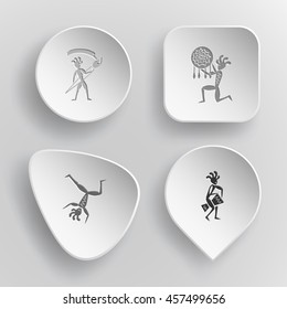 4 images: ethnic little man with brush, ethnic little man as shaman, dancing ethnic little man, ethnic little man with drum. Ethnic set. White concave buttons on gray background. Vector icons.