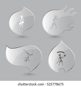4 images: ethnic little man with drum, with camera, dancing, with brush. Ethnic set. Glass buttons on gray background. Fire theme. Vector icons.