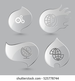 4 images: gears, globe and phone, and clock, shift globe. Business set. Glass buttons on gray background. Fire theme. Vector icons.