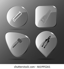 4 images: hacksaw, mallet, pliers. Angularly set. Glass buttons. Vector illustration icon.