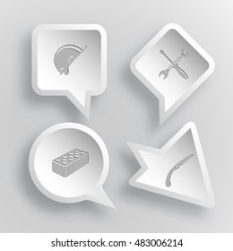 4 images: hard hat, screwdriver and spanner, hollow brick, hand saw. Industrial tools set. Paper stickers. Vector illustration icons.