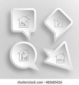 4 images: home reading, flower shop, family, home. Home set. Paper stickers. Vector illustration icons.