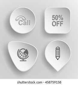 "4 images: hotline, label ""50% OFF"", globe and lock, pencil. Business set. White concave buttons on gray background. Vector icons."