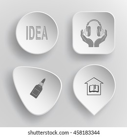4 images: idea, headphones in hands, glue bottle, library. Education set. White concave buttons on gray background. Vector icons.
