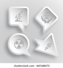 4 images: lab microscope, protection world, radiation symbol, dna. Science set. Paper stickers. Vector illustration icons.