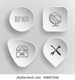 """4 images: label """"buy now"""", globe and arrow, push-button telephone, screwdriver and spanner. Business set. White concave buttons on gray background. Vector icons."""