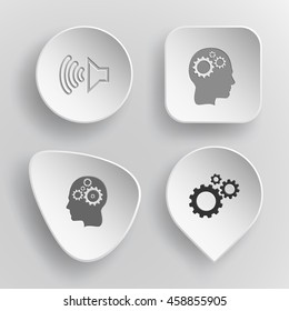 4 images: loudspeaker, human brain, gears. Tehnology set. White concave buttons on gray background. Vector icons.