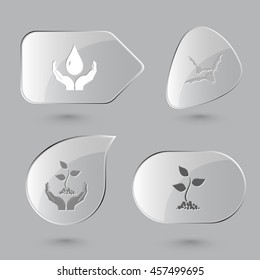 4 images: protection blood, bats, plant in hands, sprout. Nature set. Glass buttons on gray background. Vector icons.
