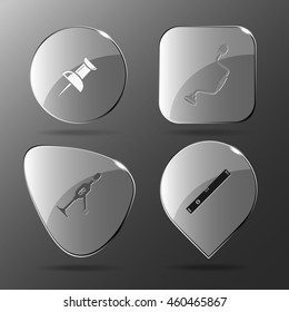 4 images: push pin, hand drill, spirit level. Angularly set. Glass buttons. Vector illustration icon.