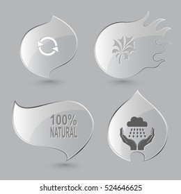 4 images: recycle symbol, plant, 100% natural, weather in hands. Ecology set. Glass buttons on gray background. Fire theme. Vector icons.