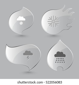 4 images: snowfall, snowflake, thunderstorm, rain. Weather set. Glass buttons on gray background. Fire theme. Vector icons.