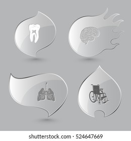 4 images: tooth, brain, lungs, invalid chair. Medical set. Glass buttons on gray background. Fire theme. Vector icons.