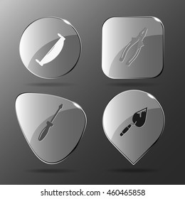 4 images: two-handled saw, pliers, screwdriver, trowel. Industrial tools set. Glass buttons. Vector illustration icon.