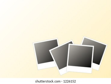 4 instant photos in a gradient light yellow/White background – vector – Add your text. Scalable. Change the colors as you wish